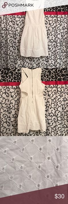 Eyelet dress with side cutouts Great for formal or casual occasions. Pair with jean jacket and boots or wedges.  Great for sorority ritual events. American Eagle Outfitters Dresses Midi