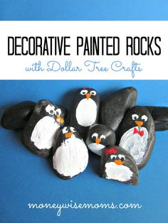 Penguin Decorative Painted Rocks- perfect rainy day project for kids!
