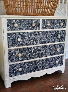 fun idea for dresser fronts --- use fabric  |   Sophia's