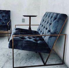 ::living room decor & design inspiration - gorgeous blue velvet chair with metal frame:: Home Interior, Interior Architecture, Interior Decorating, Interior Inspiration, Room Inspiration, Home Furniture, Furniture Design, Velvet Furniture, Living Furniture