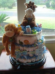 jungle theme diaper cake