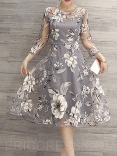 Ericdress Flower Print Three-Quarter Sleeve Expansion Casual Dress Casual Dresses