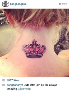 Royalty Jewel Crown Neck Tattoo