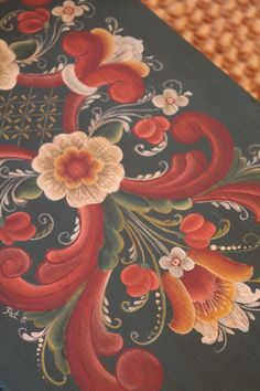 Rosemaling detail on a wooden box/trunk