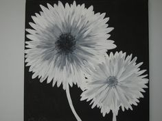 Modern black white and gray daisy flowers by EmeraldinebyES, $85.00