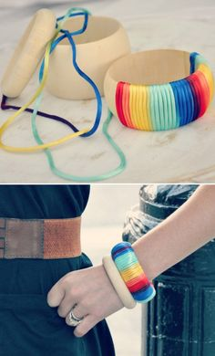 27 Stylish DIY Jewelry Tutorials;   actually pinned for the belt ---  painted wide elastic, squares of leather + a buckle ----  :)