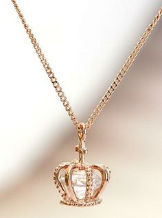 South Korean version of a short section rose gold crown pendant zircon crystal cross necklace chain clavicle female jewelry