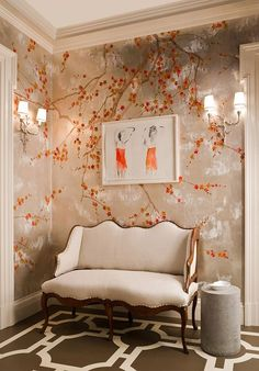 Exquisite hand painted wallpaper, hand painted fabrics, Oriental Hand-painted Art & Design Studio presenting better hand painted wallpaper, chinoiserie wallpaper for you. De Gournay Wallpaper, Silk Wallpaper, Hand Painted Wallpaper, Chinoiserie Wallpaper, Painting Wallpaper, Chinoiserie Chic, Wallpaper Ideas, Oriental Wallpaper, Handmade Wallpaper