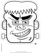 Free printable Halloween #mask. Frankenstein Monster Mask to Color