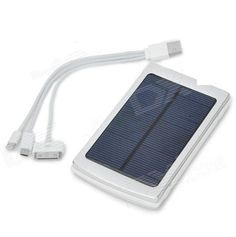 Dual USB Solar Powered 10,000mAh External Battery Charger w/ Blue Indicators - Silver Quantity: 1 Piece | Color: Silver | Material: Aluminum alloy | Battery Voltage: 5V | Capacity: 10,000mAh (actually 8000mAh) | Charge Time: 24 hours. Compatible Models: iPhone 4 / 4S / 5, Samsung, HTC. Charge Power Input: 5V / 1A and 5V / 2A, 5V / 1A. Packing List: 1 x Solar power bank 1 x USB to Apple 30 pin / ... #USBSolar #Wireless