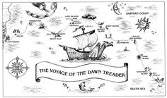 Map showing the voyage of the Dawn Treader from the Chronicles of Narnia Map Of Narnia, Narnia 3, Science Fiction, Imaginary Maps, Mystery, Cute Coloring Pages, Romance, Fantasy Map, Chronicles Of Narnia