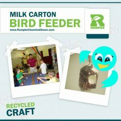 MILK CARTON BIRD FEEDER This easy craft is perfect for showing young students how to repurpose something they use every day! Easy instructions for turning a milk carton into a bird feeder. Reuse Recycle, Upcycle, Recycling, Trash Disposal, Educational Programs, April 22, Help Teaching, Recycled Crafts, Bird Feeders