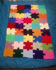 Autism Awareness Puzzle Blanket free crochet pattern - Free Awareness Crochet Patterns - The Lavender Chair