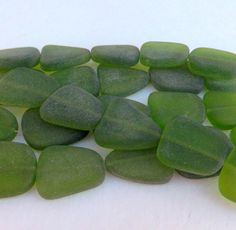 Sea Glass Bead Large Freeform Flat  Beads by LyrisBeadBoutique