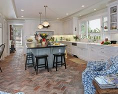 large kitchen with gray island