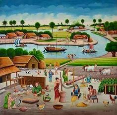 A Bangladeshi art of rickshaw and film banner.You can know about our collection, like Film Scene, interesting Bangladeshi art, village Scene, animal paint Scene in this page. Drawing Scenery, Scenery Paintings, Indian Art Paintings, Nature Paintings, Beautiful Paintings, Village Scene Drawing, Art Village, Agriculture Pictures, Teachers Day Drawing