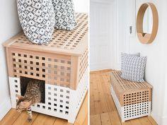 Nice living with cats – diy Interior design Cat Litter Box Diy, Hidden Litter Boxes, Rabbit Litter Box, Best Litter Box, Litter Box Enclosure, Living With Cats, Best Ikea, Cat Room, Cats Diy
