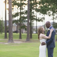 An intimate summer elopement at a private home on a golf course in Virginia at sunset.