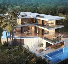 Comment if you want a mega modern mansion like this one! Check Out My Other Account! (Men's Fashion) (Men's Fashion) (Men's Fashion) Tag Your Friends! by modern_mansions Architecture Design, Amazing Architecture, Beautiful Modern Homes, Modern Luxury, Mega Mansions, Modern Mansion, Modern House Design, Exterior Design, Future House