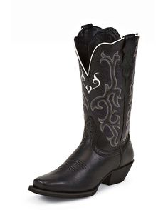 Womens Black Deercow Boot - L2554 MSRP  $119.95 Justin   http://websites-buy.com/countryoutfitter.com