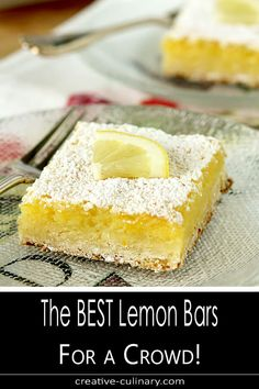 I've been making what my friend Bill has called the best lemon bars for 30 plus years. The Best Lemon Bars for a Crowd is an updated version of an old favorite with a thicker filling to serve more people. Doesn't everyone want seconds? Lemon Desserts, Köstliche Desserts, Lemon Recipes, Delicious Desserts, Dessert Recipes, Bar Recipes, Desserts For A Crowd, Food For A Crowd, Yummy Treats