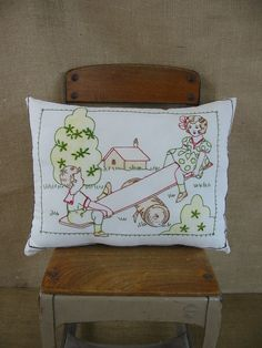 Vintage Children Embroidered Baby Pillow See Saw