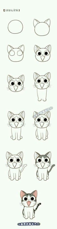 Image result for cat drawing step by step