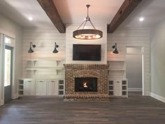66 Trendy living room decor with fireplace and tv ship lap Fireplace Built Ins, Farmhouse Fireplace, Home Fireplace, Living Room With Fireplace, Fireplace Design, Small Fireplace, Off Center Fireplace, Fireplace Lighting, Brick Fireplace
