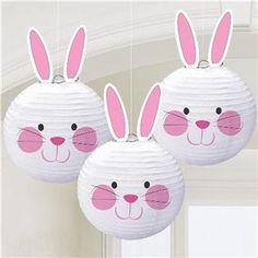 Why have 1 Easter bunny when you can have These paper lanterns each feature an adorable bunny face and come with cardboard ears that are easy to attach. Decorate your home or classroom for an Easter celebration that the kids will love. Lantern Crafts, Lanterns Decor, Paper Lanterns, Hanging Decorations, Paper Lantern Decorations, Ostern Party, Diy And Crafts, Crafts For Kids, Bunny Party
