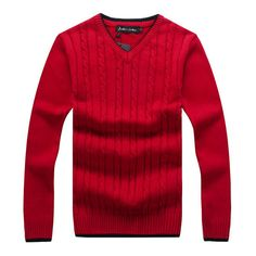 5debae3ae Mens Cotton Warm Thick Knitted Sweater Casual V-Neck Collar Long Sleeve  Knitwear Pullover Mens