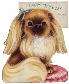 Cute Vintage Dog Birthday Card Cards