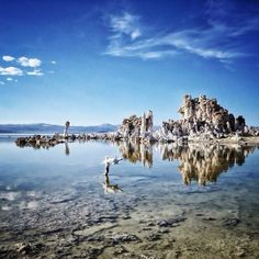 It's hard to distinguish the sky from the reflective waters of Mono Lake Photo courtesy of ravenreviews on Instagram.