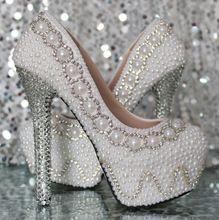 a364b11a69b Pérola strass sapatos de noiva sapatos de casamento sapatos de salto alto  bombas da plataforma das
