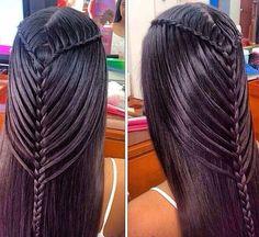 waterfall twists to mermaid French braid Elven Hairstyles, Girl Hairstyles, Braided Hairstyles, Hair Designs For Girls, 4 Strand Braids, Long Hair Tips, Pinterest Hair, Hair Videos, Hair Hacks