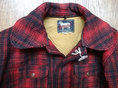 """Vintage 1950s red black plaid checked Woolrich wool hunting jacket 48"""" chest rockabilly winter by TheDustbowlVintage on Etsy https://www.etsy.com/listing/220525329/vintage-1950s-red-black-plaid-checked"""