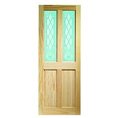 Wickes Skipton Internal Softwood Door Clear Pine Glazed 4 Panel 1981x838mm