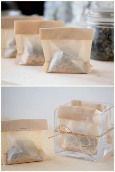 DIY Tub Tea made with herbs, powdered milk, salts and oatmeal