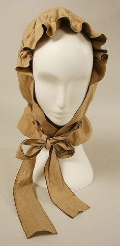 Front View of Linen Hood; links to fabulous linen duster on metmuseum site