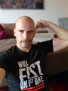 New Years Stache Bald Men With Beards, Bald With Beard, Bald Man, Mustache Men, Mustache Styles, Bald Men Style, Cleft Chin, Beard Rules, Haircuts For Men