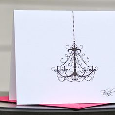 Chandelier thank you card