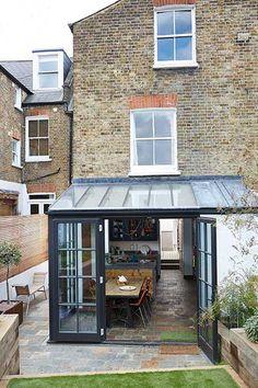 Crittall style doors & windows. Inspiration for north facing garden - maximising light!