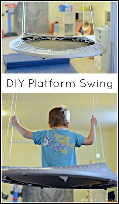 How to make an easy DIY platform swing for kids - great for kids with autism and/or sensory issues from And Next Comes L