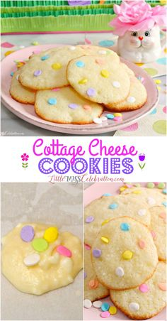 These Cottage Cheese Cookies just might become your new favorite! Soft, tender and lemony, with a cake-like consistency, these delicate, fabulous cookies almost melt in your mouth. These easy to make cookies will be a wonderful addition to your Easter and Cheese Cookies, Roll Cookies, Xmas Cookies, Cupcake Cookies, Cupcakes, Easter Dishes, Easter Desserts, Easter Treats, Easter Recipes