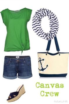 Canvas Crew Tote in Navy Anchor