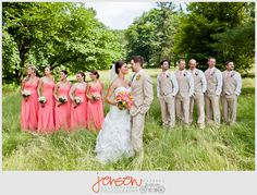 Coral bridesmaid dresses....this is pretty much what I'm wanting to a tee!!