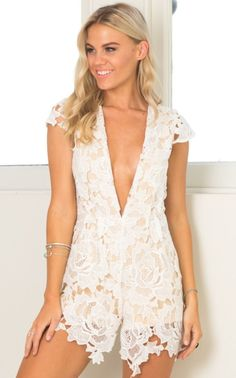 dbb5523bed94 Midnight Envy Playsuit In White Lace Produced. White Lace PlaysuitLace  Party DressesLace DressCute RompersWomen s ...