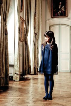 f43bfeab6 Dior winter 2011 deep blue dress layered party dress for kidswear