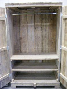 Kledingkast Steigerhout  2 brede schappen 1 breed hang gedeelte (1260120300KZ2)