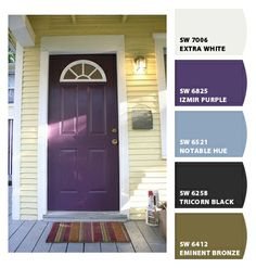 purple door, yellow house --my house has just this color siding. Once I get my living room repainted, my front door is next! Purple Front Doors, Front Door Colors, Purple Home, House Paint Exterior, Exterior House Colors, Feng Shui, Bungalow, Grey Siding, Black Shutters