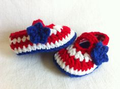 4th of July and Memorial Day Mary Janes Booties Set - Red White Blue - 3 Sizes- Crochet Summer Baby Girl Shoes Sandals - Patriots Baby, Patriotic Baby, Military Baby $12